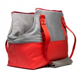 Bolso paseo perros rojo y gris, talla S de caninetto