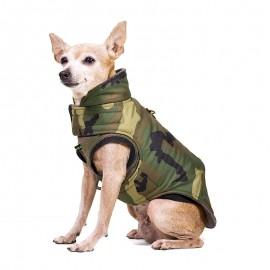 Abrigo para perros de estampado camuflaje por caninetto barcelona