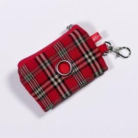 Porta-bolsas Mini Escoces Rojo para perros de caninetto barcelona