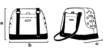 Tabla con las dimensiones de los bolso de transporte para perros de caninetto